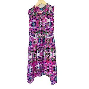LAmour Womens A Line Dress Purple Floral Pleated S